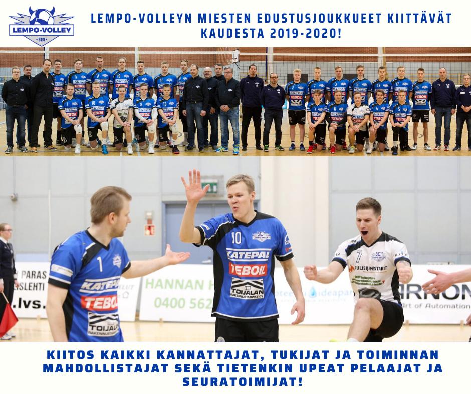 Miesten lentopallosarjat päättyvät, kausia ei pelata loppuun – Lempo-Volley kiittää kaikkia kuluneesta kaudesta!