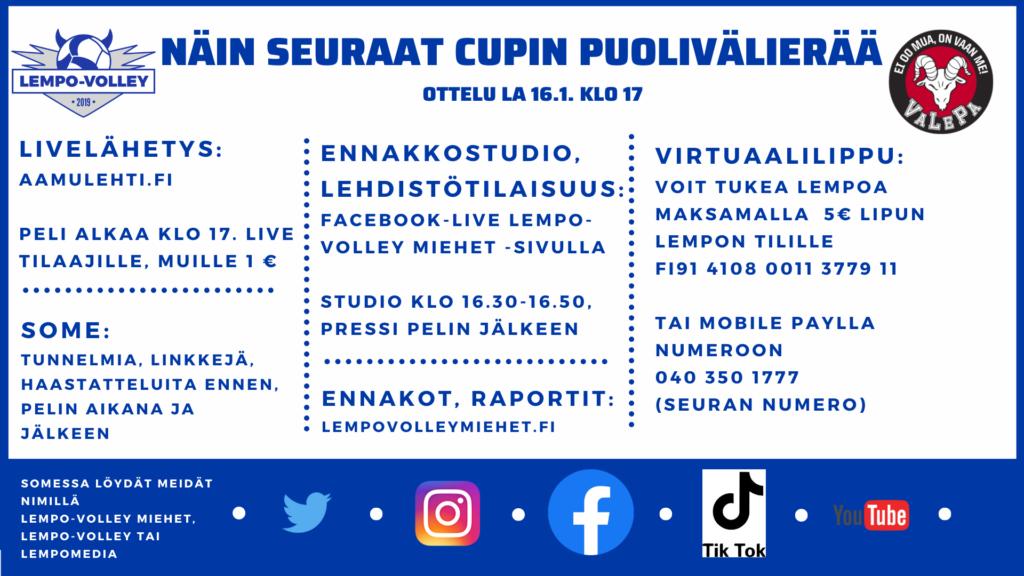Aamulehti lähettää VaLePa-pelin livenä – Näin voit ostaa virtuaalilipun Lempon tueksi